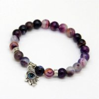 best food products - 2014 New Products Best Quality Natural Purple Agate Stone Beads Antique Silver Hamsa Bracelets Jewelry Gift