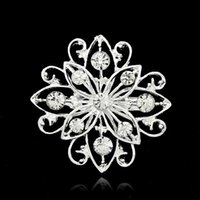 Wholesale Fashion Jewelry Small Silver Brooch Flower Bouquet Brooches Rhinestone Lapel Pins Crystal BrocheS For Women Wedding