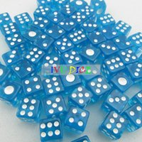 automatic mahjong machine - 100pcs MM side Dice Transparent BLUE with WHITE point automatic mahjong game KTV party machine dice IVU