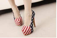 Women american flag wedding dress - new blue American flag pattern navy wind stiletto heel waterproof big yards career woman single job interview single shoes