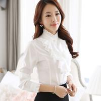 Wholesale Ruffle Blouse Women New Fashion Stand Collar Ruffle Cuff Long Sleeve White Tops Elegant Ladies Office Work Wear Retro Chiffon Shirts