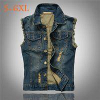 Wholesale Men Denim Vest Slim Wasitcoats motorcycle Bikers jeans Jacket Hole Large Size xl xl xl xl xl xl Outwear Coats Fashionable