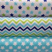 achat en gros de quilting tissu blanc-100 * 160cm 100% coton tissu sergé vent nouveau nordique simples étoiles blanc / bleu zigzag pour les vêtements de bricolage coussins quilting telas tissu
