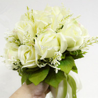 Cheap High Quality Ivory Rose Bridal Bouquet 18 Flowers Bridal Throw Flower Green Leaves Wedding 100% Handmade Bridesmaid Bouquet with Ribbons