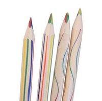 Wholesale Rainbow Color Pencil in Colored Pencils Triangular Wooden Draw Painting Korean stationery teens Kids pencil coloring
