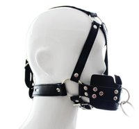 adult headbands - Adult supplies locking traction mouth containing device High quality PU Sex bondage harness type full out gag Fetish limit Headband
