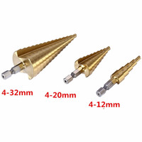 Wholesale 3Pcs Professional HSS Steel Large Step Cone Hex Shank Coated Metal Drill Bit Cut Tool Set Hole Cutter mm