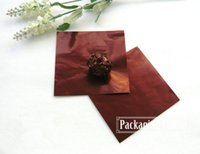 Wholesale 20 cm Brown Aluminum Foil Wrapper Paper Chocolate Candy Tea Coffee Wrapping Paper