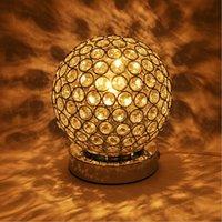 ball crystal lamp table - Luxury K9 Crystal Table Lamp Light Creative ball stainless steel Decoration Lighting For Study Bedroom E27 Bulb AC85 V
