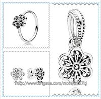 Wholesale 925 Sterling Silver Ring Earrings and Jewelry Charms Pendant Sets with Box Fits European Jewelry Bracelets Necklaces Floral Daisy