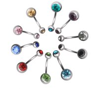 Wholesale 15 colors mixed Surgical Steel Rhinestone Belly Button Navel Ring women body Piercing jewelry