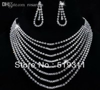 big foreheads - Gifts Fashionable Noble Queen Multi Layer Statement Necklace Earrings Set Forehead Rhinestone Set A big promotion