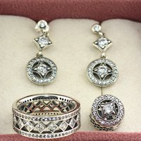 allure set - 925 Sterling Silver Ring Earrings Jewelry Charms Pendant Sets with Box Fits European Jewelry Charm Bracelets Necklaces Vintage Allure
