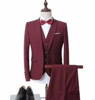 Wholesale Colorful Luxury Mens White Suits Jacket Pants Formal Dress Men s Suit Set wedding suits groom tuxedos Blazer pants vest