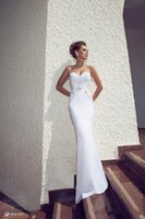Wholesale Simple Lace Wedding Dresses Mermaid Fitted Wedding Gowns Spaghetti Bridal Dress Sexy Backless beach wedding dress Lace Back Custom Made