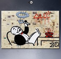 big monopoly - Alec monopoly no5 big Graffiti art High Quality Genuine Handpainted Cartoon Graffiti Art oil Painting On Canvas customized size