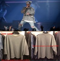 Wholesale KOM New us hip hop men unisex justin bieber fear of god fog baggy vintage reversible three quarter sleeve pullover sweatshirt