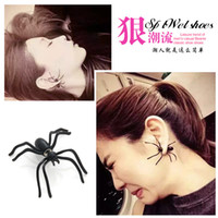 Wholesale Harajuku perspective exaggerated earrings large black spider earrings fashion personality puncture earrings for women
