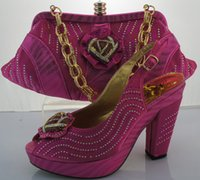 amazing platform shoes - Amazing design Fuchsia platform cm high heels with stones High quality Lady italian shoe and handbag set to match dress ME3301