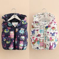Wholesale Unisex kids bird graffiti with thick cotton waistcoat new autumn and winter children cartoon pattern hooded outwear vest for T T
