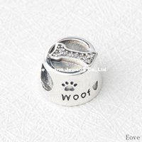 angels bowls - 925 Sterling Silver Woof Clear CZ Charm Dog s Feeding Bowl Beads Fits Pandora Bracelets For Diy European Necklace