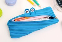 Wholesale Korea creative stationery simple cute little monster little breast large canvas zipper pencil bag good gift for kids students