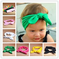 baby kiki - Hot Baby Hair Band Babies Lovely Bow Solid Hair Warp European Infant Bunny Ear Hairband Color kiki Mother And Daughter Hairbands I4256