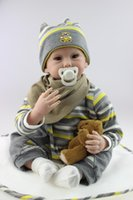 baby smile photo - 22 Inches Silicone Vinyl Reborn Baby Dolls Boy Smiling Real Photo Handmade Boneca Reborn Baby Alive Toys Girls Birthday Gift