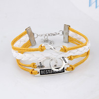 beautiful handcuffs - Generous Beautiful Yellow Handcuffs Letter Best Friend Alloy Wax Cord Wrap Bracelets Bangles for Women Jewelry