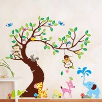 Wholesale momkey owl elephant bird zebra zoo wall stickers for kids rooms ZooYoo1214 decorative removable pvc wall decals DIY