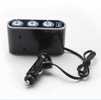 Wholesale Automobile Car Cigarette Lighter Way Triple Splitter Adapter DC12V USB Port With Blue Led Light Car Accessories