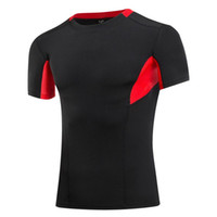 base clothing - 2016 New Men Compression Shirt Base Layer Running shirt Short Sleeve High Quality Fitness Tops Bodybuilding GYM Clothing T shirt