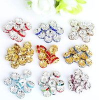 Wholesale 6mm mm multicolor Rhinestone Silver Plated Big Hole Crystal European Beads spacer Loose Bead Bracelets Findings