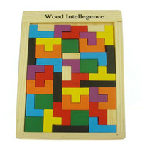 Wholesale NEW Wooden Russian Tetris Puzzle Jigsaw Intellectual Building Block and Training Toy for Early Education Children wood intellegence Toys