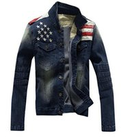 american flag jean shorts - New Arrival Men Jean Jackets Long Sleeve Casual Jacket Men Coat Fashion Design American flag Pattern Outerwear Coat