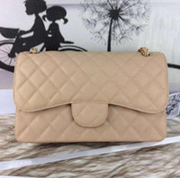 apricot fashion - Fab Price Large Classial CM Maxi Jumbo Quilted Chain Apricot Beige Caviar Leather Double Flaps Fashion Shoulder Bag Gold Silver Hw
