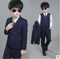 Wholesale 2016 Brand New Boys grid Formal Wedding Suit England Style Boys Blazer Suit Kids Party Evening Tuxedos Boys Formal Wear