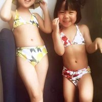 Wholesale WL MONSOON Girls Bikini Girl Euro Style Swimming Suit Kids Lemon Halter Bathing Suit Poppy and Daisy Printed