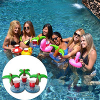 Wholesale 2016 Summer Cute Drink Can Holder PVC Inflatable Floating Coconut Trees Swimming Pool Bathroom Beach Water Drink Holder