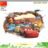 Wholesale Pixar cars D wall stickers kid bedroom DIY D cartoon movie wallpaper home decal nursery kids playroom window Sticker