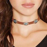 Wholesale Punk Thin Coffee Leather Rope Metal Beads Turquoise Short Chokers Necklaces Collar Necklace Gothic Jewelry for Women DHN620