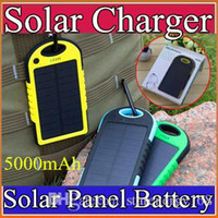 solar power cell phone battery chargers - 5000mAh Solar power Charger and Battery Solar Panel waterproof shockproof Dustproof portable power bank for Mobile Cellphone iphone B YD