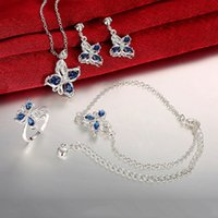 asian fashion online - Online for sale fashion butterfly silver necklace bracelet earring ring jewelry sets discount sterling silver blue gemstone set GTFS140A