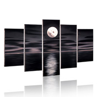 Wholesale Bright Full Moon Painting Wood Frame Inside Wall Art Decor Hand Paint Seascape Oil Painting Pieces Canvas Painting