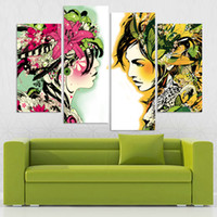 art modernism - 4pcs set Canvas Modernism Abstract Girls color Art Painting for Living Room Bedroom Decor Paintings For Living Room Wall No Frame