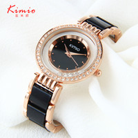 band pink roses - Kimio watches women rose gold simulated ceramic band rhinestones ladies quartz watch montre femme hour clock relojes mujer