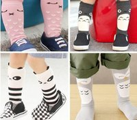 Wholesale 2015 Fashion unisex cartoon Animal leg warmers baby girls boys knee high Totoro Panda Fox socks kids cute Striped Knee Pad sock free ship