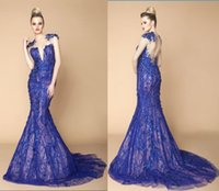 Wholesale Royal Blue Evening Dresses Zuhair Murad Mermaid Luxury Prom Gowns With Embroidery Lace Sheer Backless Dubai Ball Gowns