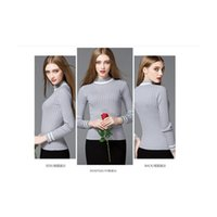 acrylic computer stand - A041 Womens knit Sweater Stand Collar Stripe Ends Slim Knitwear Long Sleeve Pullover Sweater Ladies Jumper Tops