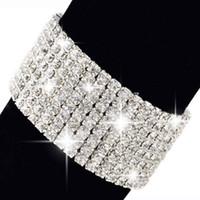 Wholesale Hot Fashion Rows Crystal Rhinestone Wedding Bridal Bracelet Bangle Bling Wristband Women Jewelry